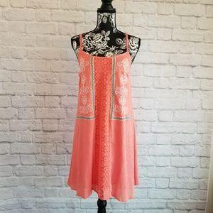 Flying Tomato  Embroidered Boho Orange Shift Dress